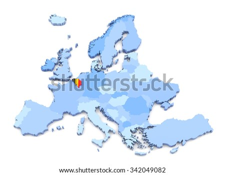 3D Rendering of Europe Map, Belgium with Flag - stock photo