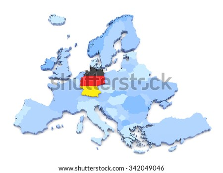 3D Rendering of Europe Map, Germany with Flag - stock photo