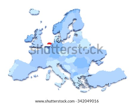 3D Rendering of Europe Map, Netherlands with Flag - stock photo