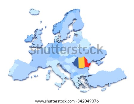 3D Rendering of Europe Map, Romania with Flag - stock photo