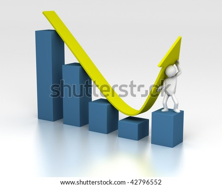 3D rendering of figure helping chart upwards despite of a downturn - stock photo