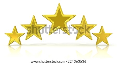 3D rendering of five gold stars isolated on white - stock photo
