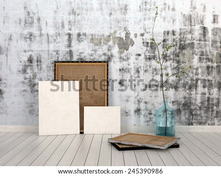 3D Rendering of Frames and Boards Emphasizing Copy Space, Leaning on Unfinished Concrete Wall Inside an Empty Room with White Flooring. - stock photo