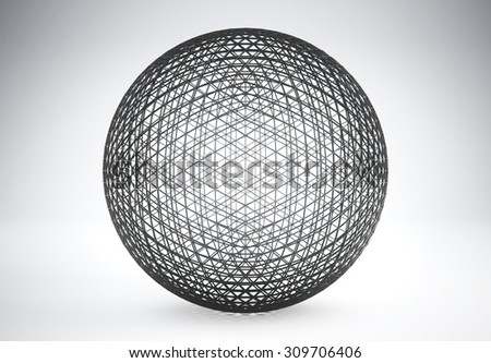 3D rendering of Futuristic outline shape. Black lines sphere background. Sci-fi background. Abstract object in empty space.