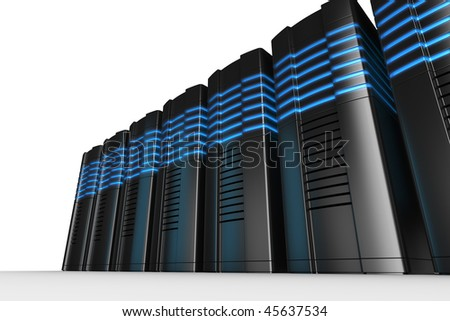 3d rendering of futuristic servers on a white background - stock photo