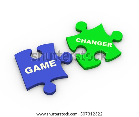 3d rendering of game changer puzzle pieces