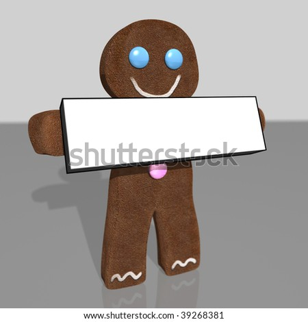 3D rendering of gingerbread man holding blank sign - stock photo