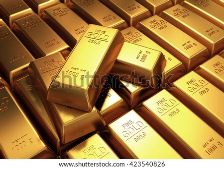 3D rendering of gold bars - stock photo