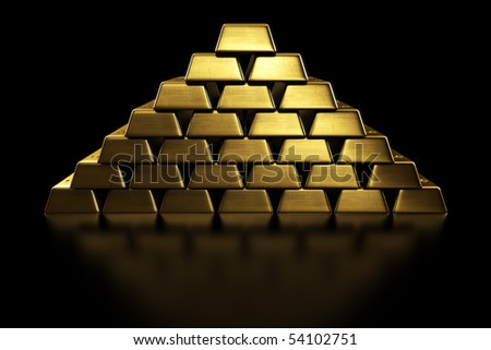 3d rendering of gold bars stacked in a pyramid shape - stock photo