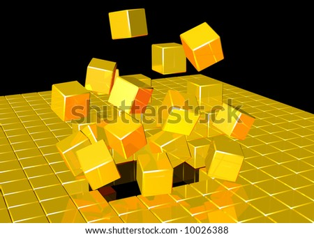 3d rendering of gold cubes exploding - stock photo