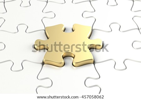 3D rendering of gold puzzle piece - stock photo