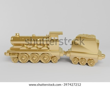 3d rendering of golden toy train isolated on white - stock photo