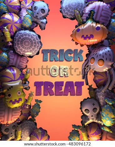 3d rendering of Halloween party balloons and Trick or Treat lettering. Stylized cartoon Halloween poster or card. Frame with colorful balloons. Includes pumpkin, spider, web, zombie, skull, candies