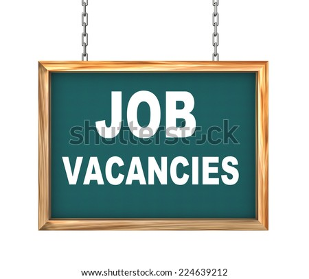 3d rendering of hanging wooden signboard banner of concept of job vacancies - stock photo