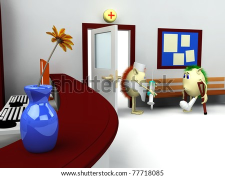3d rendering of hospital waiting room and registry - stock photo
