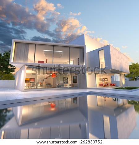3D rendering of Impressive villa with pool, late afternoon  - stock photo