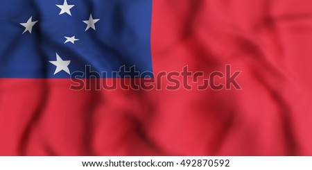 3d rendering of  Independent State of Samoa flag waving