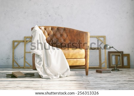 3D Rendering of interior of Classic leather armchair in the art studio with a lamp. - stock photo