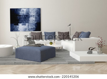 3D Rendering of Interior of Modern Living Room with Sofa, Ottoman, and Artwork on Wall - stock photo