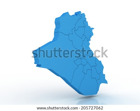 3d rendering of Iraq map on a white background - stock photo