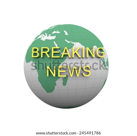 3d rendering of isolated breaking news globe
