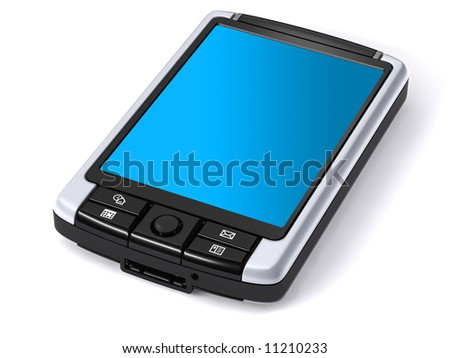 3D rendering of isolated pocket pc on white background
