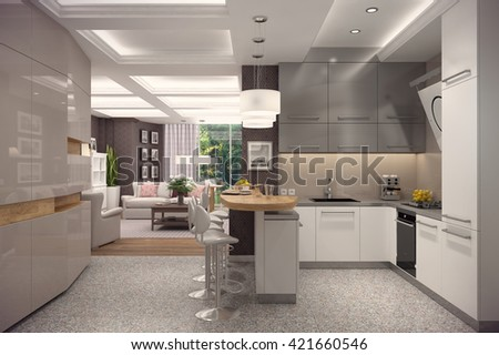 3D rendering of kitchen in modern style.The interior is decorated with wood. - stock photo