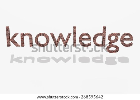 3d rendering of knowledge word on a white background