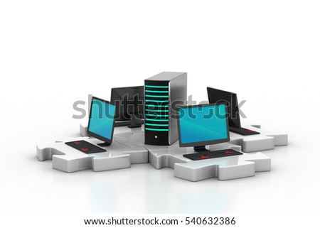 3d rendering of  Laptop and server connect in puzzles