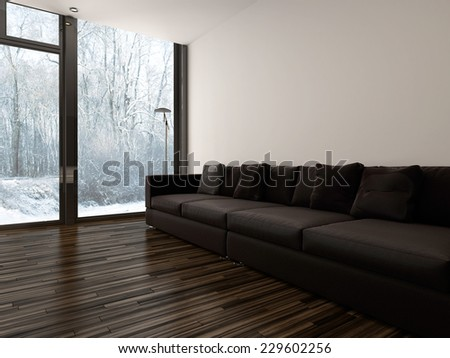 3D Rendering of Large brown upholstered sofa in a minimalist living room interior with white brick walls and a hardwood floor and floor-to-ceiling windows overlooking a garden - stock photo