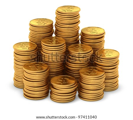 3d rendering of large group of gold usa dollar coins on white background