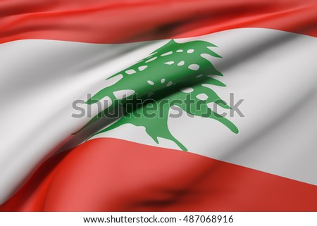 3d rendering of Lebanon flag waving