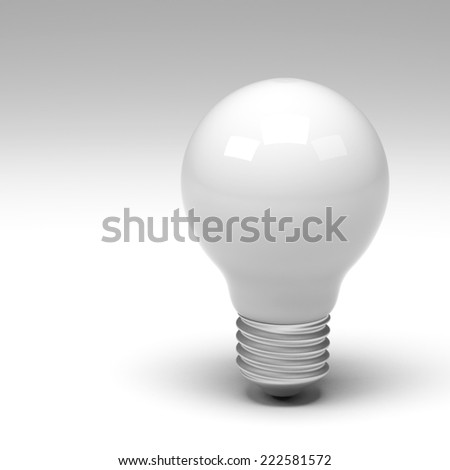 3d rendering of lightbulb isolated - stock photo