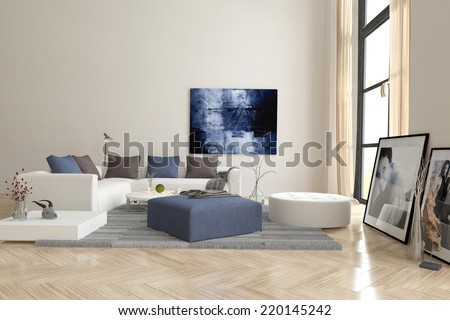 3D Rendering of Living room interior with a herringbone parquet floor and comfortable modern modular upholstered lounge suite with artwork on the walls - stock photo