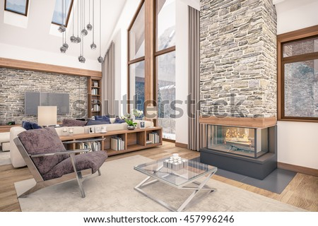 of living room kitchen and dining room and stair are combined in one