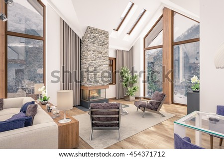 3D rendering of living room, kitchen and dining room are combined in one area of chalet. The interior is decorated with wood and natural materials.