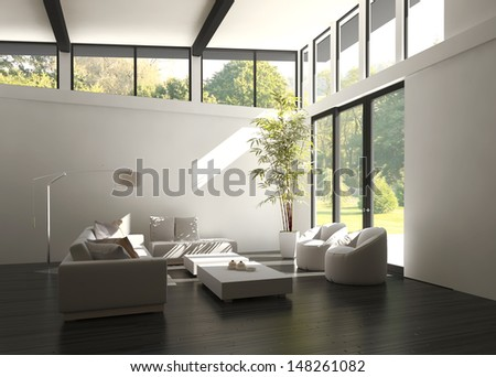 3D rendering of loft apartment interior. - stock photo
