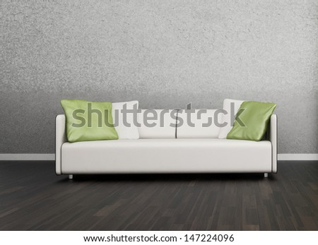 3D rendering of loft apartment interior with white couch against gray wall - stock photo