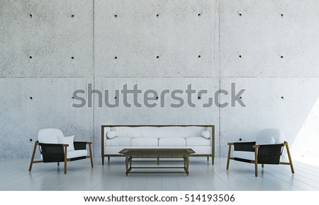 3D rendering of loft living room and concrete wall