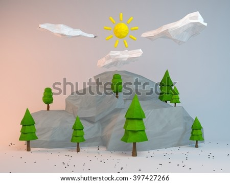 3d rendering of low poly stylized trees and rocks. Objects in the spot of soft light. Colorful cartoon geometric elements with realistic shadows on white background.  - stock photo