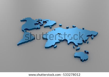 3d rendering of low poly world map