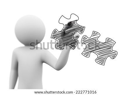 3d rendering of man drawing scribble sketch of puzzle pieces with marker on transparent glass screen. 3d white people character - stock photo