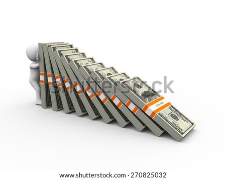 3d rendering of man holding falling dollar currency packets domino. 3d white person people man - stock photo
