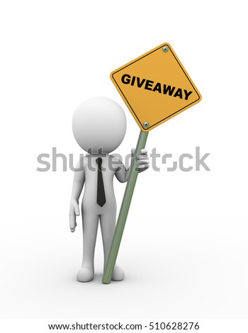 3d rendering of man holding giveaway road signboard. 3d white person people man