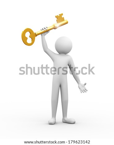 3d rendering of man holding large shiny golden key. 3d white people man character.