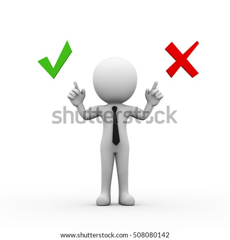 3d rendering of man pointing to symbol sign of yes and no. 3d white person people man