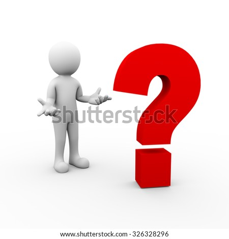 3d rendering of man posing no idea gesture in front of question mark symbol.