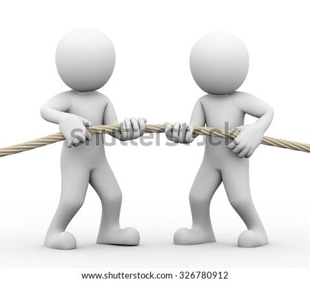 3d rendering of man pulling rope showing concept tug of war among people. Concept conflict and dispute between couple - stock photo