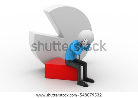 3D rendering of man sitting the piece of pie chart