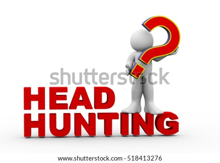 3d rendering of man standing on head hunting holding question mark. 3d white people man character